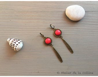 art déco earrings with red howlite stone cabochon