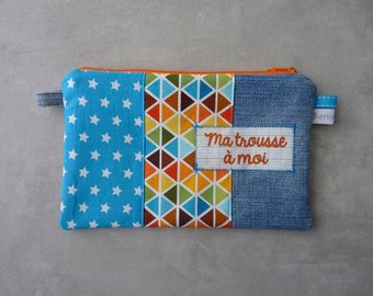 """""""My clutch"""" flat clutch multicolored/turquoise recycled denim"""
