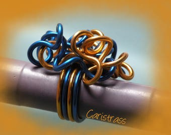 Ring Frizz in Royal Blue aluminum / copper.