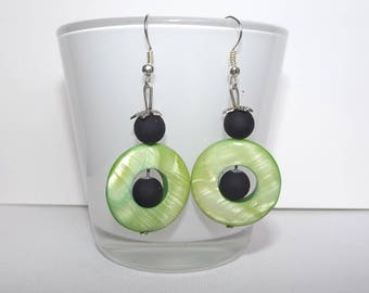 Green and black earrings.