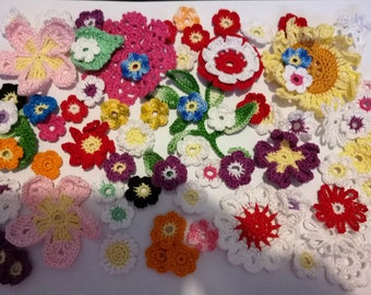 Applique crochet cotton flowers 75 pieces