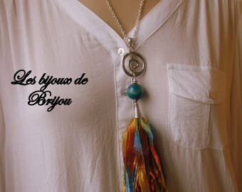 Long necklace boho chic tassel House muticolore and blue