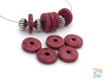 Plum: 10 beads matte ceramic rondelles, 2.5x12mm, Greece (pc186)