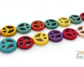 8 beads Peace and Love howlite multicolored 15mm (PH214)