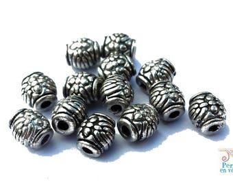 10 metal, nickel, 5x6mm (pm141) barrel beads