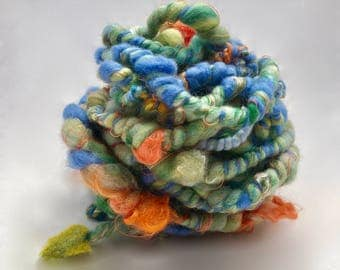 Art Yarn, Hand spun Yarn, Merino Wool & Silk
