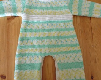 Hand knitted romper/jumpsuit in the colors of spring baby 3 months