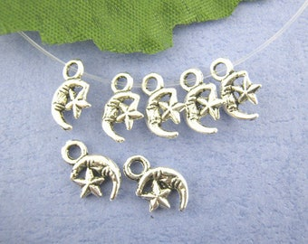 set of 10 charms Moon silver 7 x 12 mm