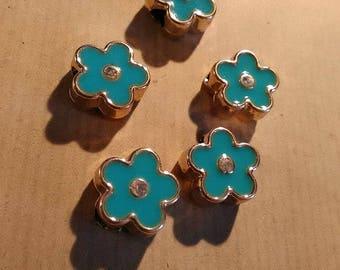5 European acrylics, enamel beads