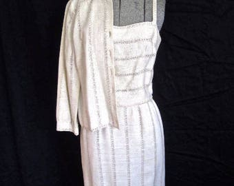 S 60s 2pc Suit Dress Set Jacket White Woven Cream Linen Wiggle Sheath Day Mid Century Carlyle Small