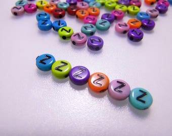 LETTERS COLORS - Z - 7MM ACRYLIC BEADS