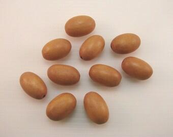 Set of 10 beads natural wood, olives, 24 mm.