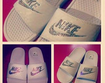 Swarovski encrusted Nike Sliders