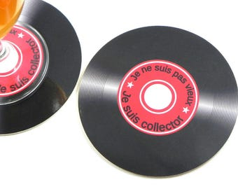 Underneath glass anniversary gift 45 RPM vinyl record I'm not old I am collector coaster round coaster music