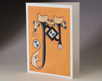 N - from Book of Kells Art Card