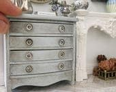 Miniature chest of drawers - aged powder blue - bow front gustavian french style - Dollhouse - Roombox - Diorama - 1:12 scale