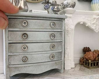 Miniature chest of drawers - aged powder blue - bow front gustavian french style