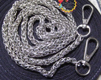 1 piece 120cm chain mesh bag with silver snap clip 7mm