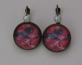Earrings 20mm cabochon jewelry * woman with hat *.
