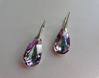 BOUCLES D OREILLES -  Larme en crystal Swarovski crystal vitrail ligth- Argent 925