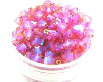 Lot 20 Paparadscha AB2X Swarovski Crystal bicones - 4 mm