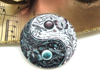2 cabochons 14 mm glass Yin Yang white and Black 2-14 mm