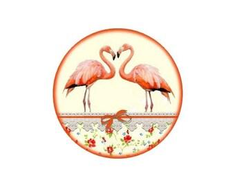 2 cabochons 16 mm glass Flamingo 1-16 mm