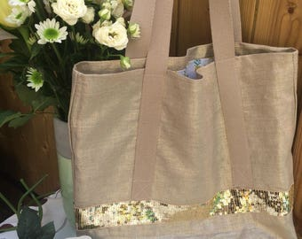 Gold tote shopping bag tote bag style vanessa