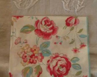 "33 X 33 cm flowers ""greengate"" paper towel"