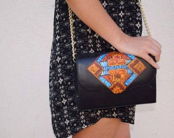 ALEJANDRA crossbody in ethnic, leather crossbody, leather purse, black leather purse