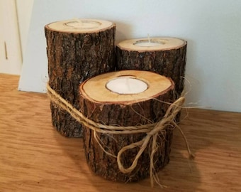 Woodland Collection Wooden Tealight Holders