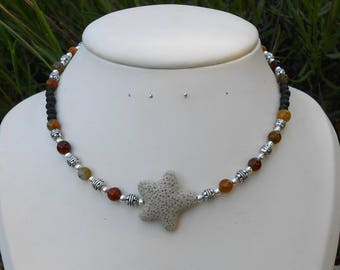 Necklace beads agate and lava beads