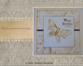 """Simple - """"Beige marbled Butterfly"""" card"""