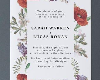 Floral Wedding Invitation   Wildflower Wedding Invitation Suite   Wedding Invitations