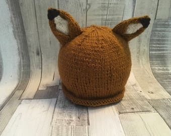 Hand knitted fox hat, knitted beanie age 6-12 months