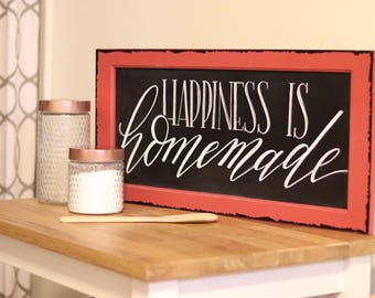 13x37 red framed chalkboard sign - happiness is homemade  - hand lettered - calligraphy - kitchen decor - farmhouse sign - gifts for her