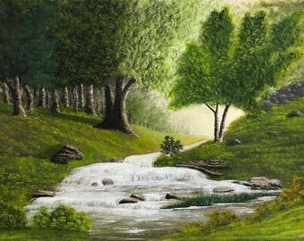 Oil painting Original , Landscape painting, Waterfall painting , Home decor. Wall hanging canvas, panel home decor, forest painting
