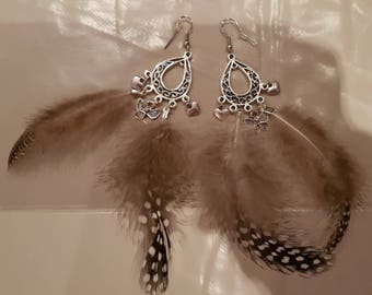 Chinchilla feather earrings