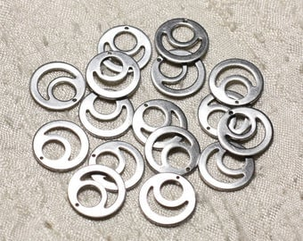 -Surgical steel 304L charms - 6PC 15mm 4558550004581 circles