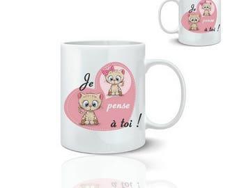 Cat mug thinking of you - mug 325 ml ceramic