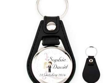 Wedding personalized name leather keyfob