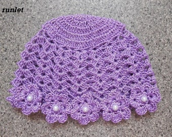 Purple cotton and crochet baby hat. flowers. 0.1.3.6mois