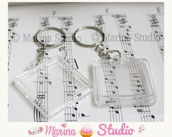 2 key chain with acrylic Transparent (photo 3cm) N16829 photo frame