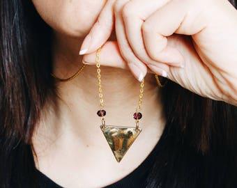 Golden triangle - purple glass beads pendant necklace