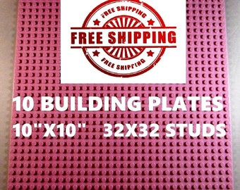 """10 New Lego Compatible 10""""x10"""" Pink Base Plates Board and 1 Genuine Lego Brick"""