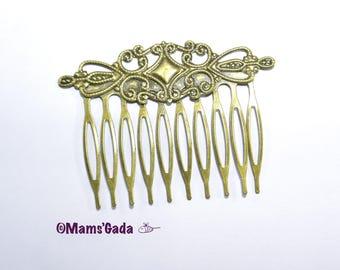Comb has hair / hair comb / Barrette large fancy 65mm Bronze color - 2 pieces-REF:B / 66