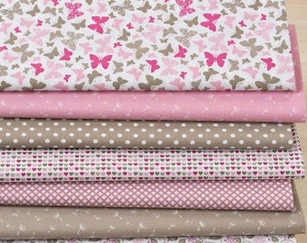 "Set of 7 fabric patchwork 75 x 30 cm ""rose/taupe"""