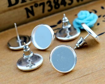5 pairs of chip silver plated 12 mm tray Cabochon earring