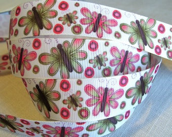 Printed grosgrain Ribbon * 22 mm * Butterfly NATURE - sold by the yard