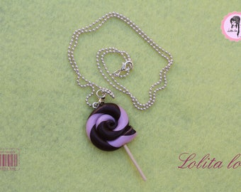 Gourmet jewelry: lollipop necklace chocolate/gray polymer clay
